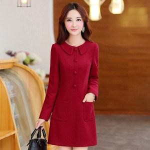 冬季毛呢<span class=H>连衣裙</span>女新款2018秋冬款小个子妈妈短款红色时尚冬裙子