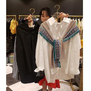 韩国东大门2019早春新款长袖宽松流苏民族风刺绣拼接假两件衬衫女