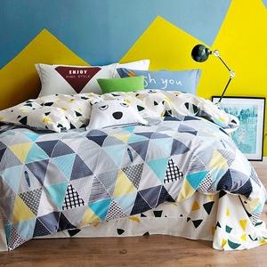 冬季加厚全棉磨毛四件套纯棉简约混搭风床单被套4件套<span class=H>床上</span>用品