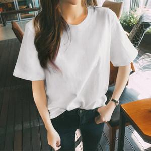 夏季新款纯白色<span class=H>t恤</span>女短袖韩版圆领宽松纯棉纯色半袖百搭体恤上衣