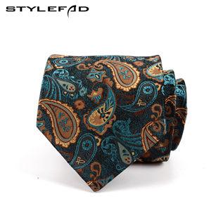 stylefad男士宽版商务正装西服<span class=H>领带</span>孔雀蓝绿色佩斯利腰果花纹8CM