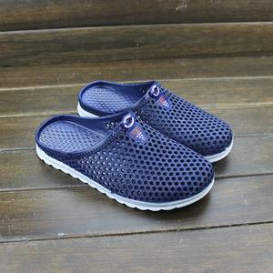 夏季男士透气拖鞋包头<span class=H>男鞋</span>子休闲凉拖潮流洞洞镂空塑料一字拖鞋