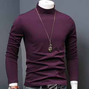 男士中半高领冬季内搭秋衣加厚打底衫修身男长袖t恤加绒保暖<span class=H>男装</span>