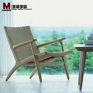 设计师款咖啡椅北欧单人<span class=H>沙发</span>椅客厅简约实木休闲椅书房椅子主人椅
