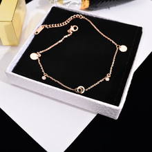 Korean version of temperament Baitao plated 18K rose gold double-ring foot chain women fashion transfer titanium steel foot ring accessories