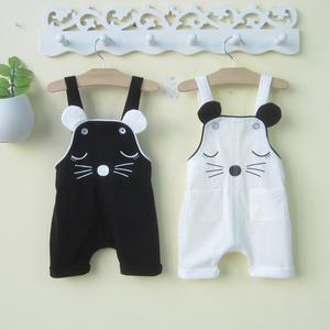 婴幼儿男童夏装潮0一1-2-3岁男女宝宝背带裤婴儿连体裤子夏季薄款