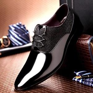 高档正装定制漆<span class=H>皮鞋</span>亮面英伦休闲男鞋真皮尖头系带品牌男士结婚鞋