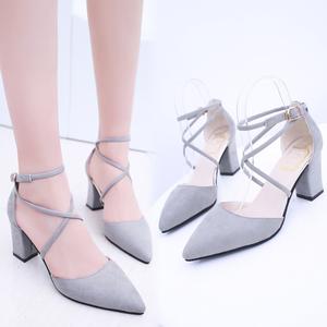 春夏季新款<span class=H>凉鞋</span>女粗跟绒面高跟鞋尖头浅口中跟交叉绑带罗马<span class=H>女鞋</span>子