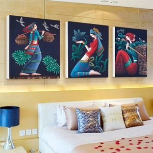现代油画民族风客厅<span class=H>装饰画</span>沙发背景墙卧室床头画玄关壁画挂画人物