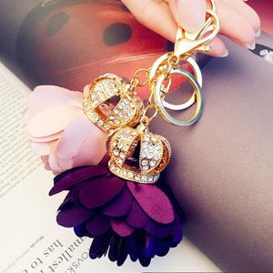 韩欧美创意礼品皇冠花瓣钥匙扣汽车钥匙挂件挂饰女款男士包挂腰挂