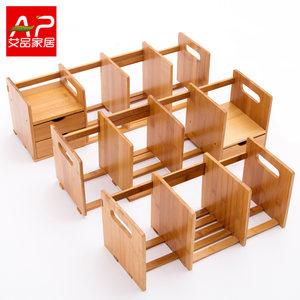 楠竹简易书架桌上<span class=H>小书架</span>置物架实木儿童学生伸缩办公桌面收纳架子