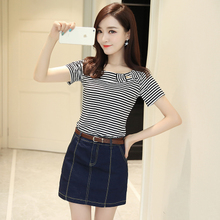 Fashion Suit Women Summer New Korean Edition Slim Stripe T-shirt Short Sleeve + Jean Short Pants Skirt Two Sets of Net Red