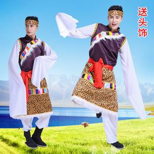 西藏民族舞蹈表演<span class=H>服装</span>少数民族藏族水袖长袖<span class=H>男装</span>藏族舞台演出服饰