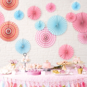 儿童生日派对婚庆商场装饰<span class=H>纸花</span>扇套装纸拉花派对布置用品纸扇套装