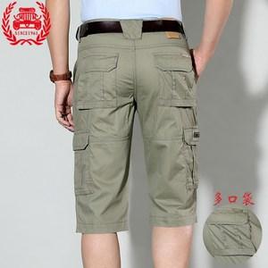 男士休闲短裤夏季薄款多口袋工装七分裤纯棉宽松中裤夏天7分短裤