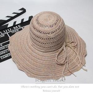 新品夏季大檐沙滩帽休闲时尚女款<span class=H>草帽</span>遮阳帽米色天蓝紫色酒红粉色