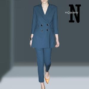 2019春装新款<span class=H>女装</span>小香风时尚气质名媛两件套西装外套修身裤子套装