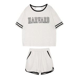 韩国订单 2016夏新款<span class=H>正品</span>HARVARD字母短袖短款<span class=H>T恤</span><span class=H>短裤</span>运动套装女