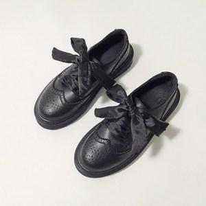 韩版秋新款布洛克雕花学院风英伦复古小<span class=H>皮鞋</span>女百搭厚底深口马丁鞋