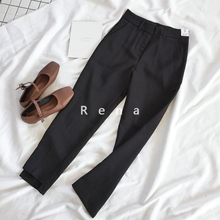 RENA shopkeeper keeps Korean spring and summer Baitao slim, black, high waist, short front and back, nine-minute pants and casual pants