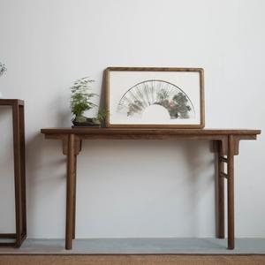 玄木实木条案供桌简约条几中式玄关桌中堂<span class=H>案台</span>案桌老榆木仿古案几