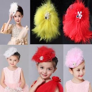 新韩版羽毛水钻儿童节发带发箍驼鸟毛高档发饰头饰布艺小礼帽头箍
