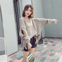 Irregular Knitted Sweaters Spring 2019 New Korean V-neck Hole Loose Medium-long fringed pullover Woman