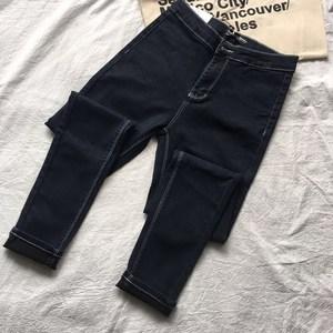 【包邮】新色 高腰<span class=H>高弹</span>力白线<span class=H>牛仔裤</span> <span class=H>黑色</span>蓝色紧身显瘦明线小脚裤