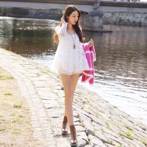 T-Baby甜美清纯风白色蕾丝连衣裙长袖修身打底裙2018秋冬新款女装