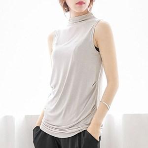 夏季新品半高领<span class=H>背心</span>无袖T恤打底衫纯棉宽松显瘦纯色大码女装上衣
