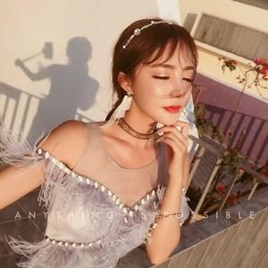 名媛气质露肩宴会晚会礼服姐妹裙年会主持长裙流苏钉珠修身连衣裙