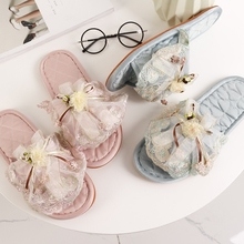 European-style lace bow slippers, cattle tendon soles, indoor shoes, cloth art, women's slippers, non-skid shoes and cloth slippers