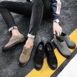 马丁鞋<span class=H>男</span>低帮<span class=H>冬季</span>真皮短靴休闲圆头<span class=H>厚底</span>英伦布洛克<span class=H>男</span>鞋青年<span class=H>皮鞋</span>子