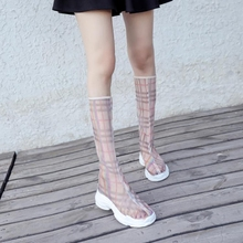 Lattice screen screen boots, muffin bottom, thick sole sandals, new style breathable fashion boots, high boots, children's sandals