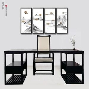 新中式书桌椅组合 禅意电脑桌现代实木办公桌<span class=H>写字台</span>书房家具定制